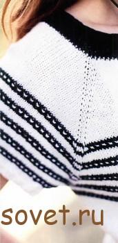 Черно-белый пуловер женский с короткими рукавами, фото 2.