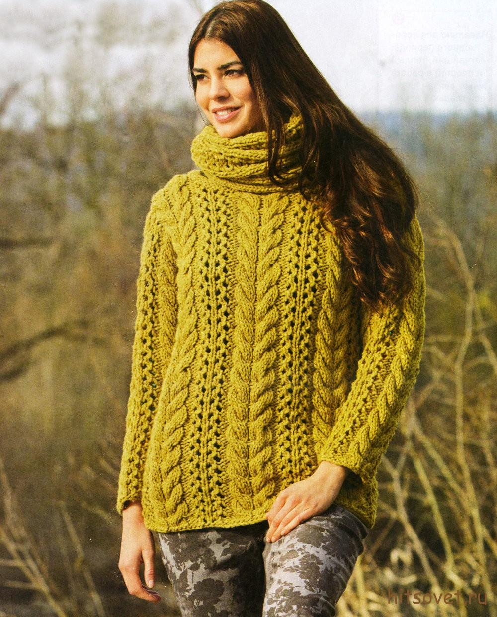 Пуловер женский и шарф-петля, фото.