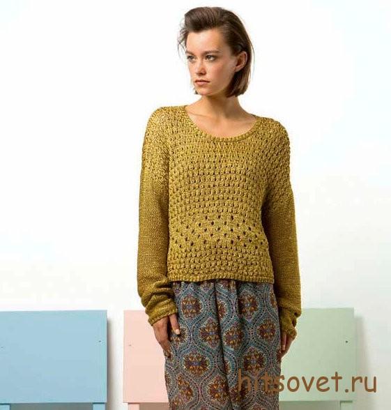 Золотистый пуловер спицами