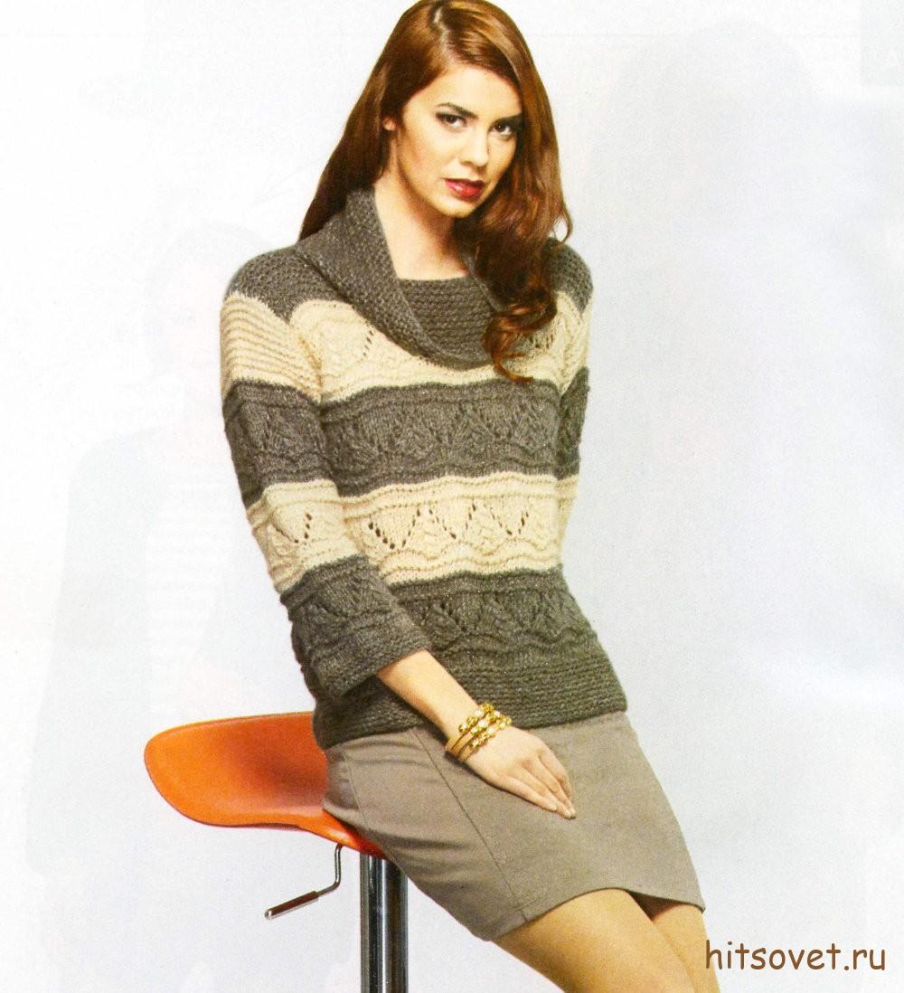 Пуловер женский с широкими полосами, фото.