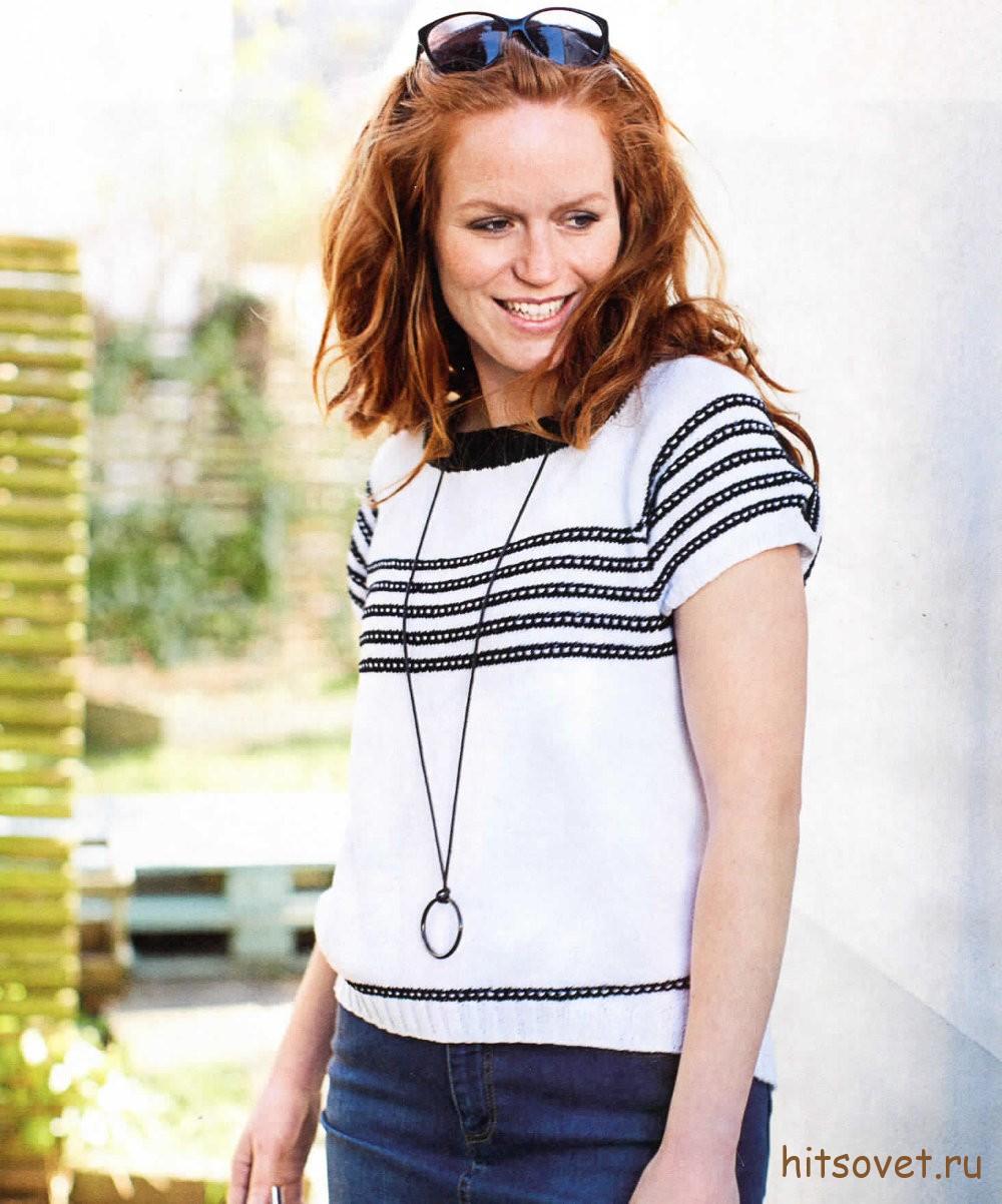 Пуловер женский с короткими рукавами