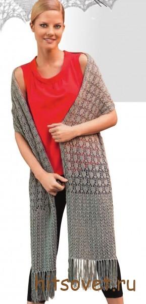 Вязаный шарф с ажуром