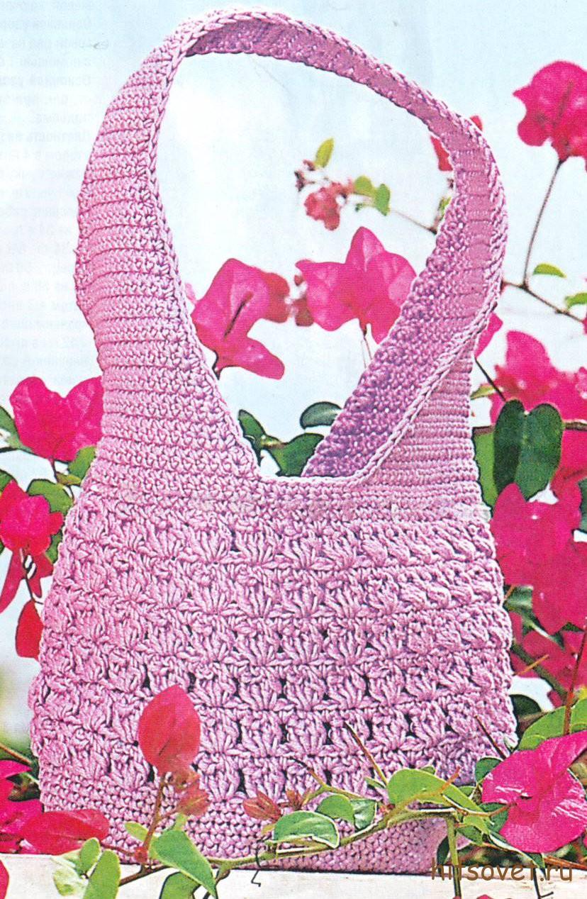Вязание крючком сумки сиреневого цвета