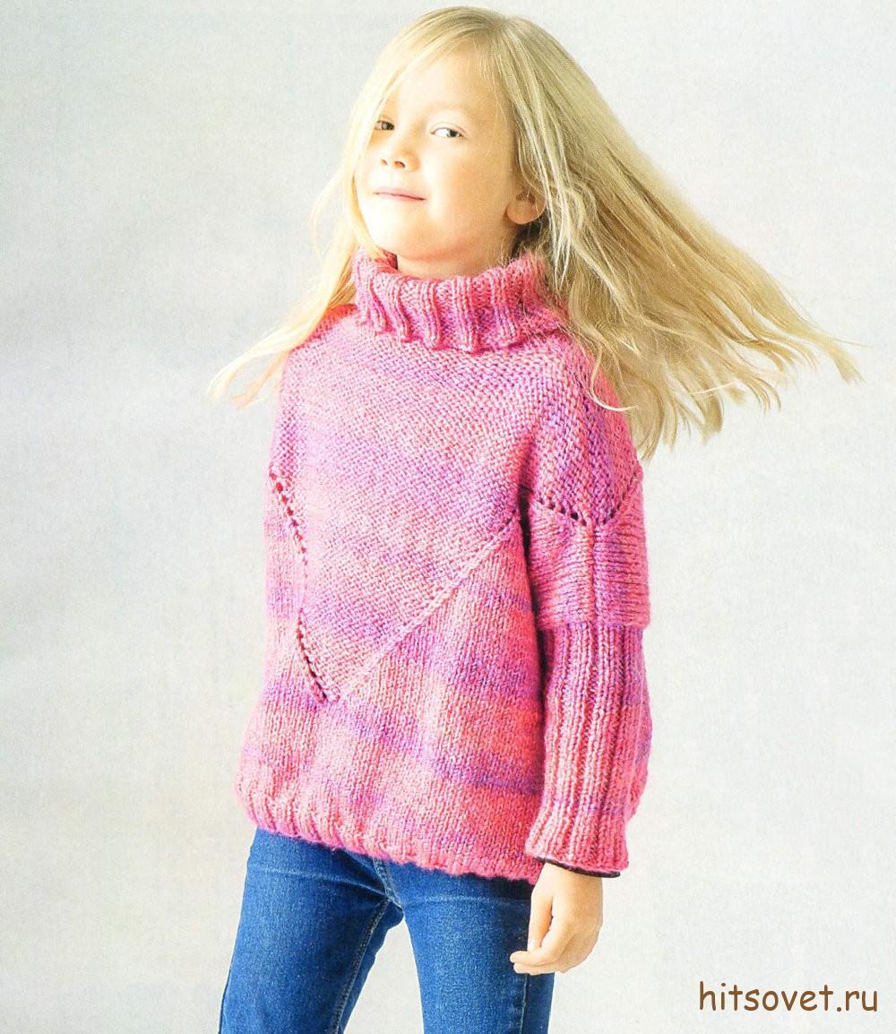 Розовый свитер для девочки спицами