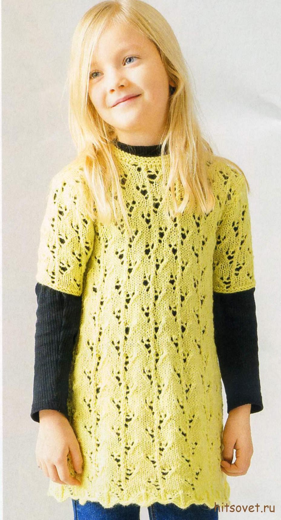 Желтая туника для девочки спицами