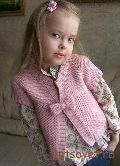Вязание для девочки кардигана спицами