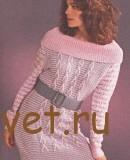Серо-розовое платье спицами