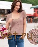 Бежевый летний пуловер спицами