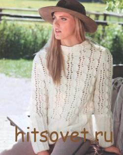 Белый пуловер женский с ажурным узором