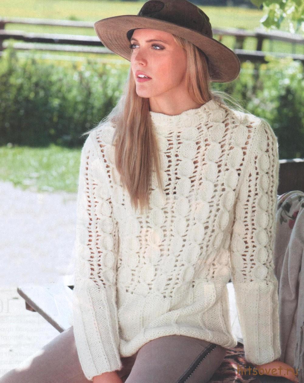 Вязание пуловера для женщин схема и описание, фото.
