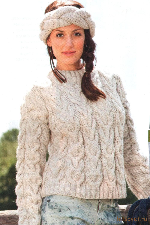 Женский пуловер с косами и повязка на лоб