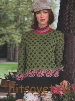 Жаккардовый пуловер женский из пряжи Merino