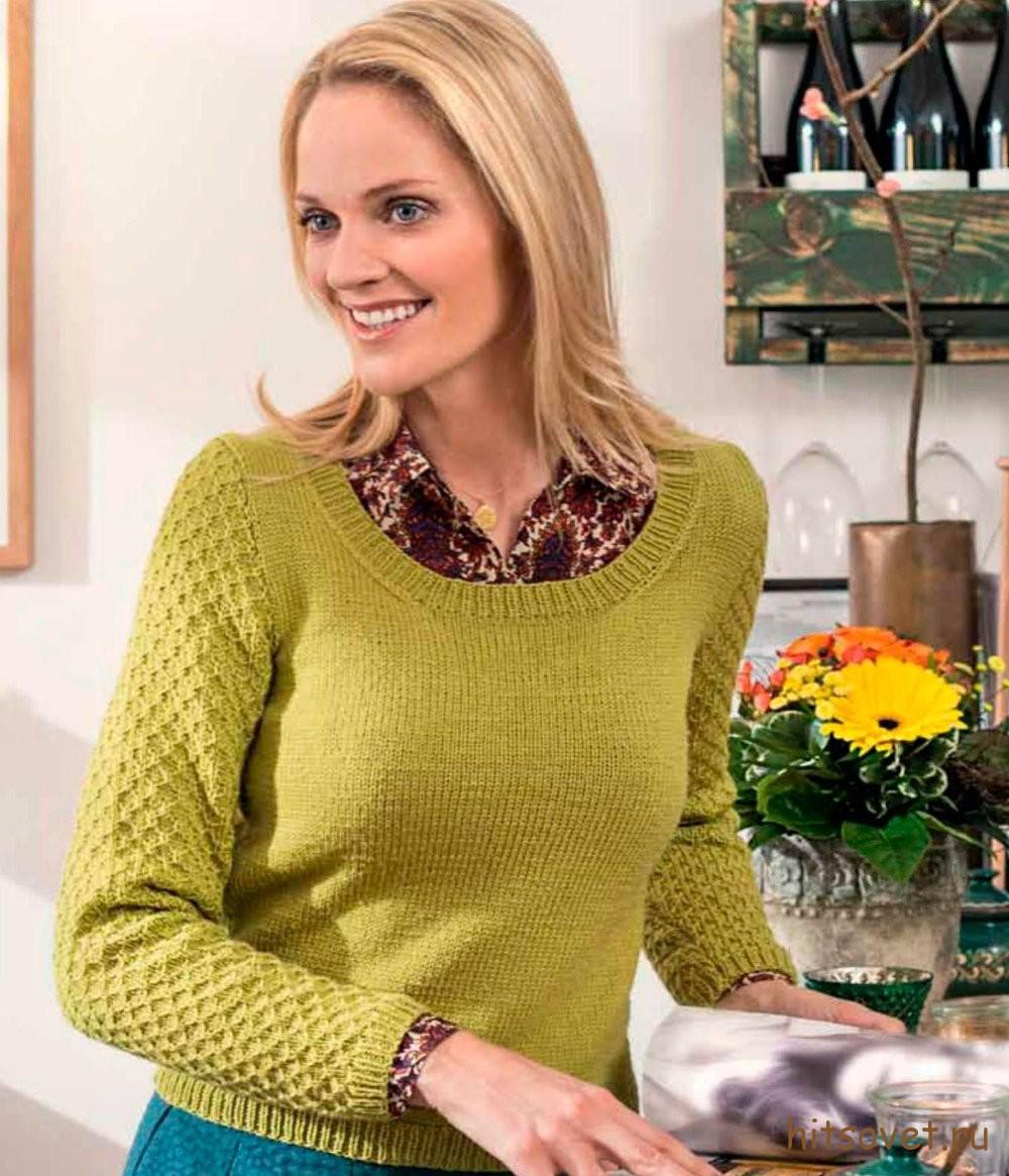 Вязаный пуловер со структурным узором оливкового цвета