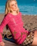 Розовый пуловер из пряжи ALLEGRO