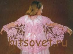 Вязание для девочки розовая шаль