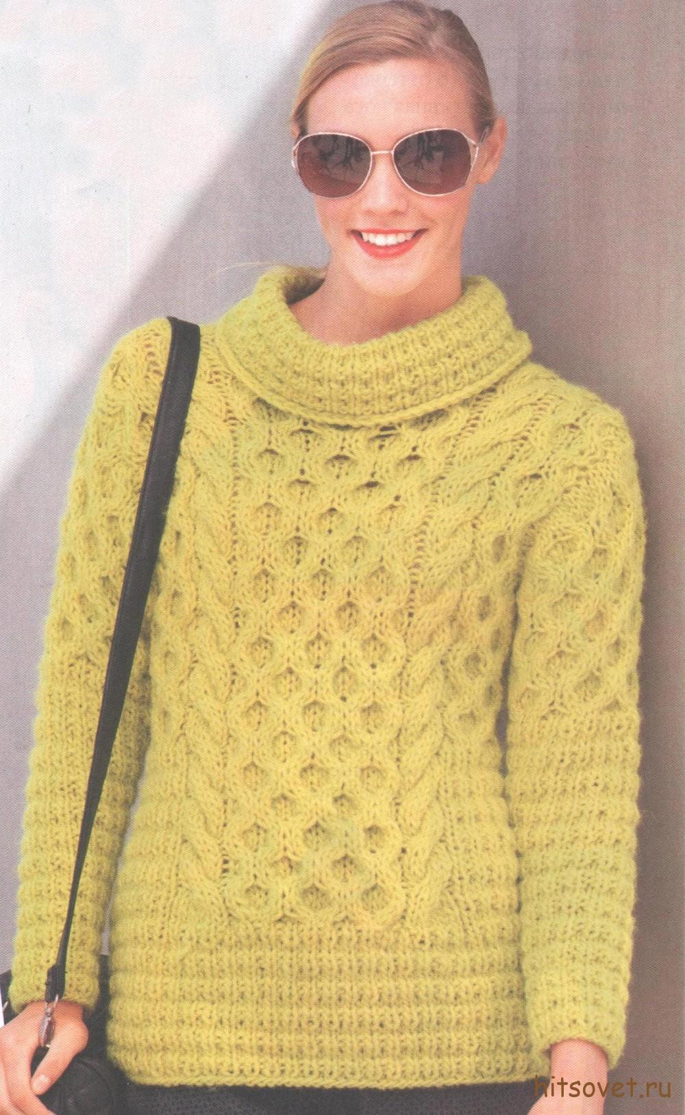Желтый свитер женский спицами, фото.