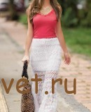 Длинная белая юбка крючком