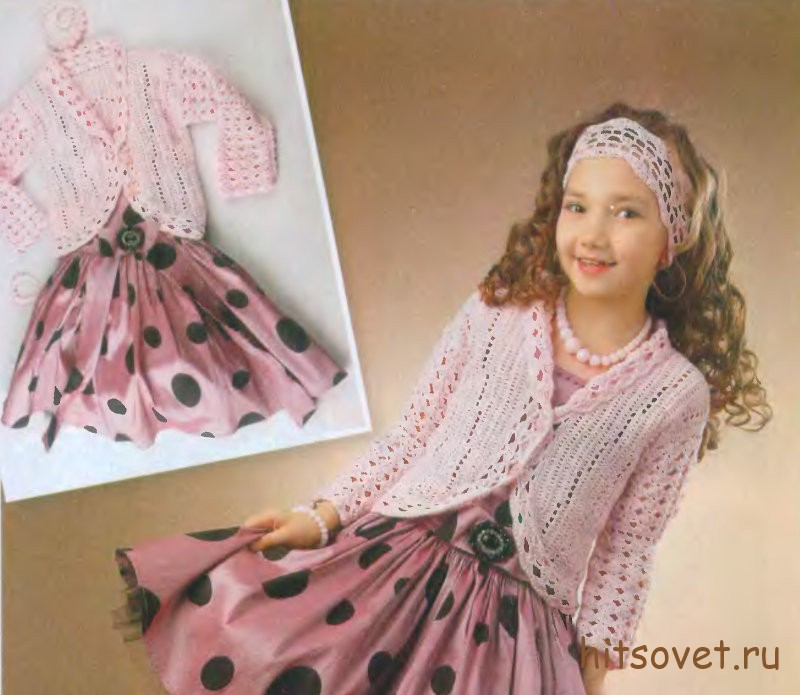 Вязание для девочки розового жакета и повязки