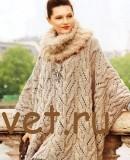 Вязание объемной накидки спицами и шарф-петля