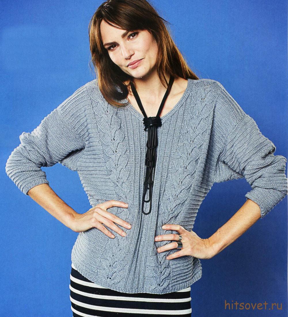 Женский пуловер с косами