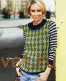 Женский пуловер с узором арлекин