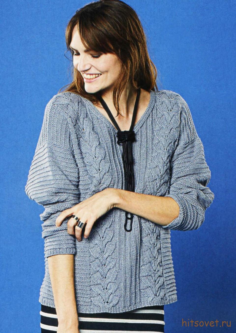 Серый женский пуловер с косами, фото 2.