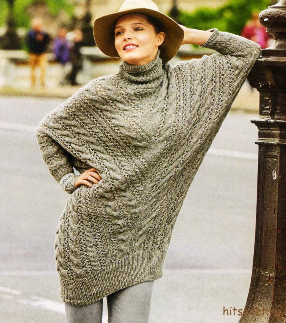 Удлиненный пуловер летучая мышь