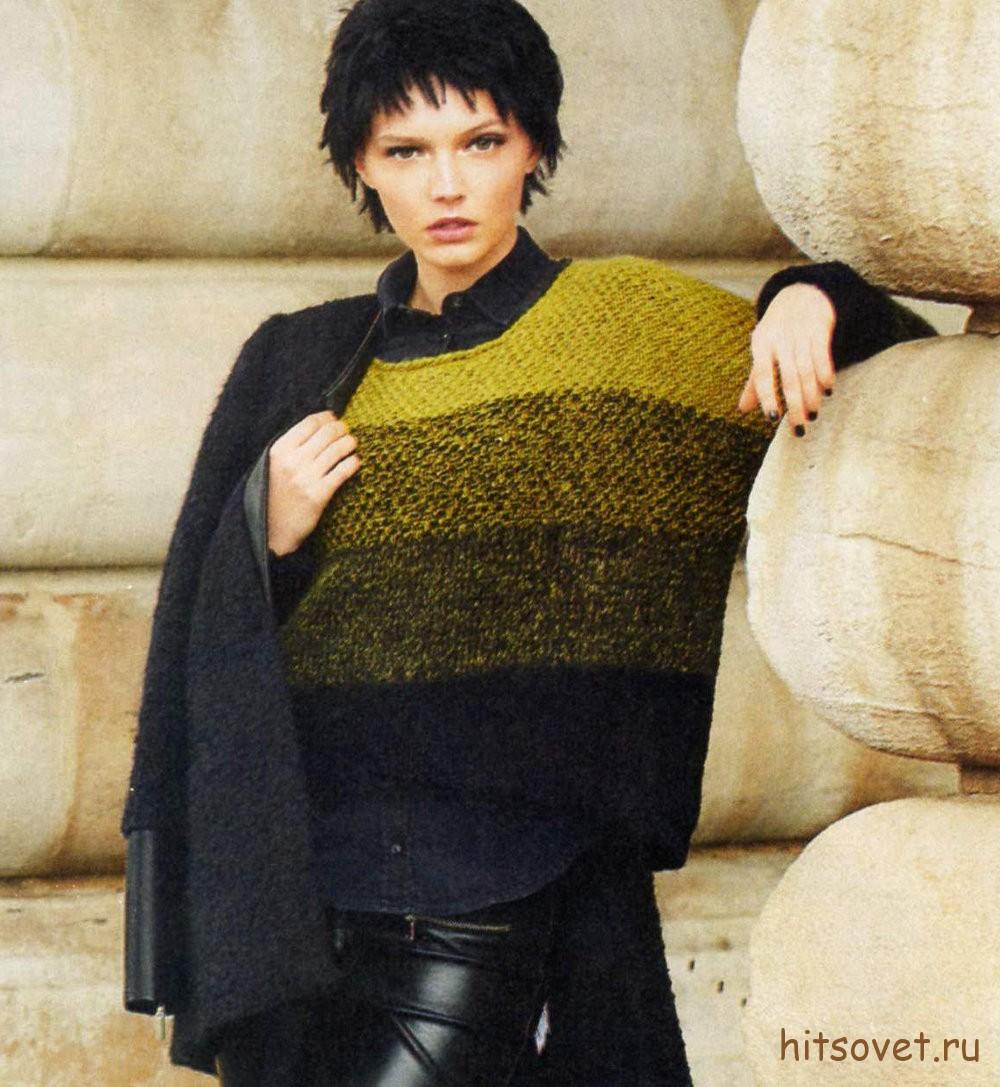 Вязаный пуловер с переходом цветных полос