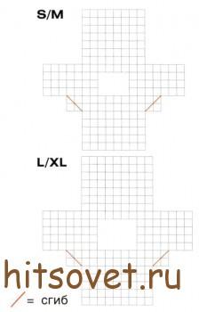 Кружевная туника цвета лаванды, схема.