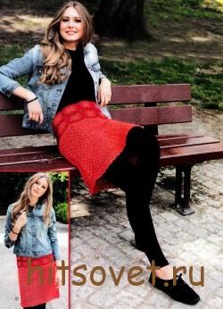 Светло-красная юбка крючком