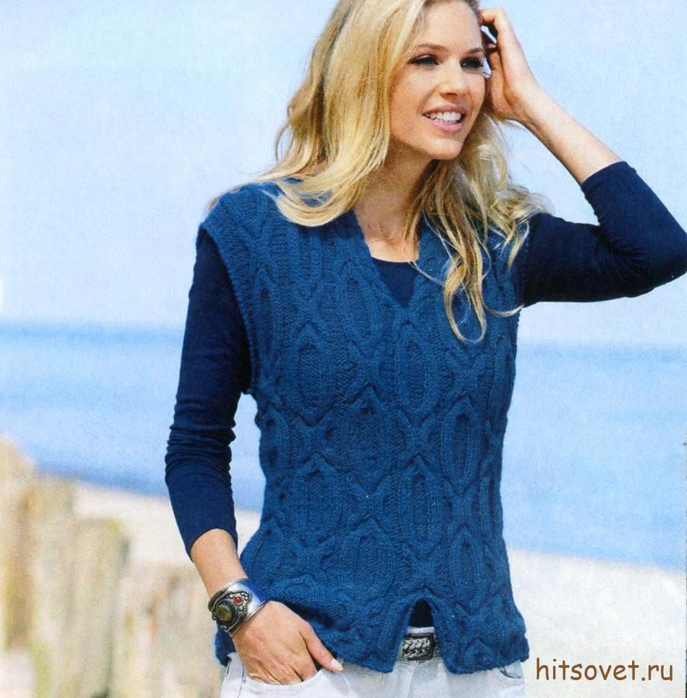 Синий женский жилет с узорами