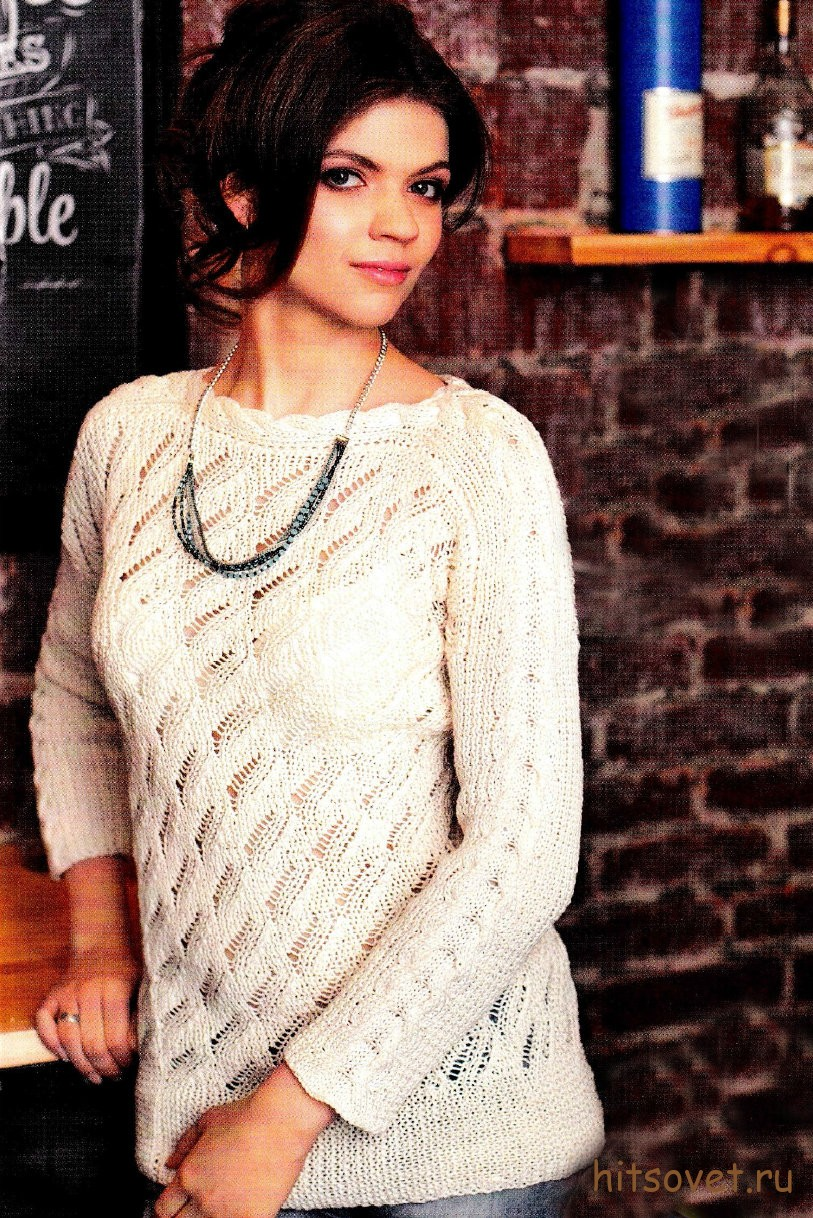 Белый ажурный свитер. ажурное вязание спицами