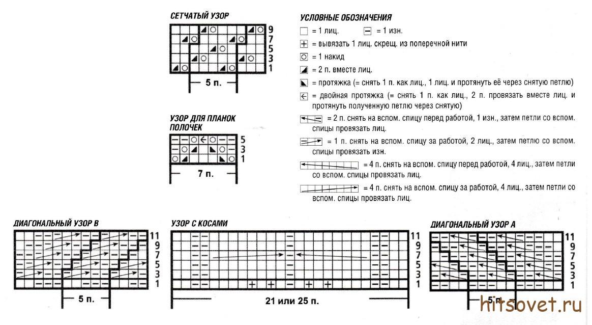 Крупный ажурный узор спицами схема описание фото 658