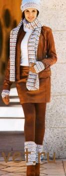 Вязание шапки, варежек, шарфа и гетр крючком
