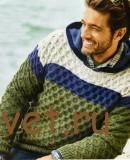 Вязание мужского пуловера вафельным узором