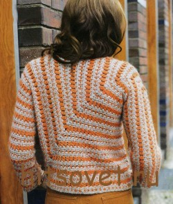 Вязание пуловера крючком единым полотном, фото 2.