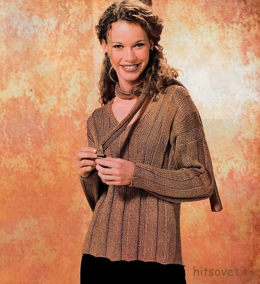 Вязаный пуловер с люрексом и мини-шарф