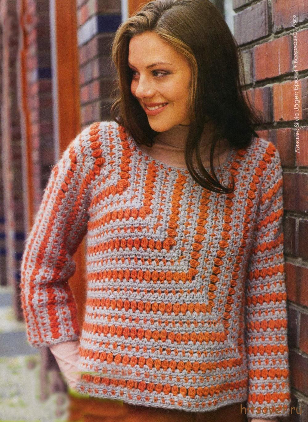 Вязание пуловера крючком единым полотном