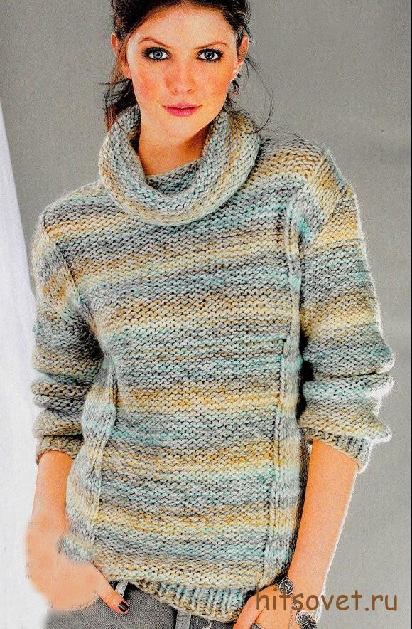 Меланжевый пуловер с узорами
