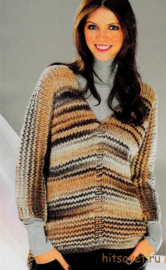 Модный пуловер спицами для начинающих
