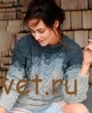 Градиентный пуловер с косами