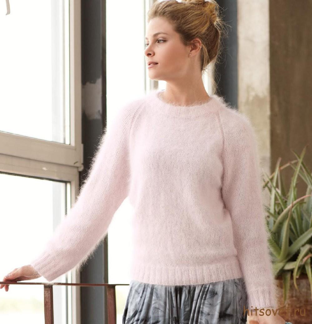 Розовый пуловер из ангорской шерсти