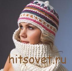 Вязаная шапка-шарф
