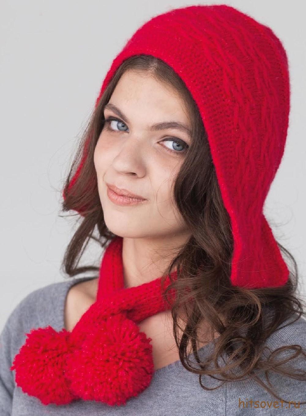 Вязаная красная шапочка и шарф