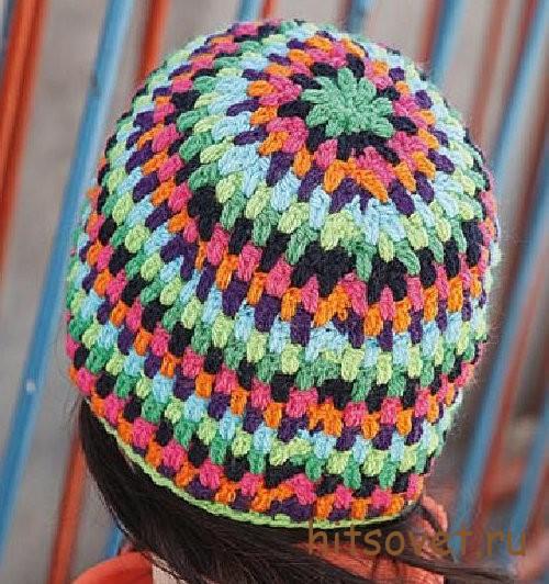 Разноцветная вязаная шапка, фото 2.
