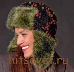 Двухцветная шапка ушанка спицами