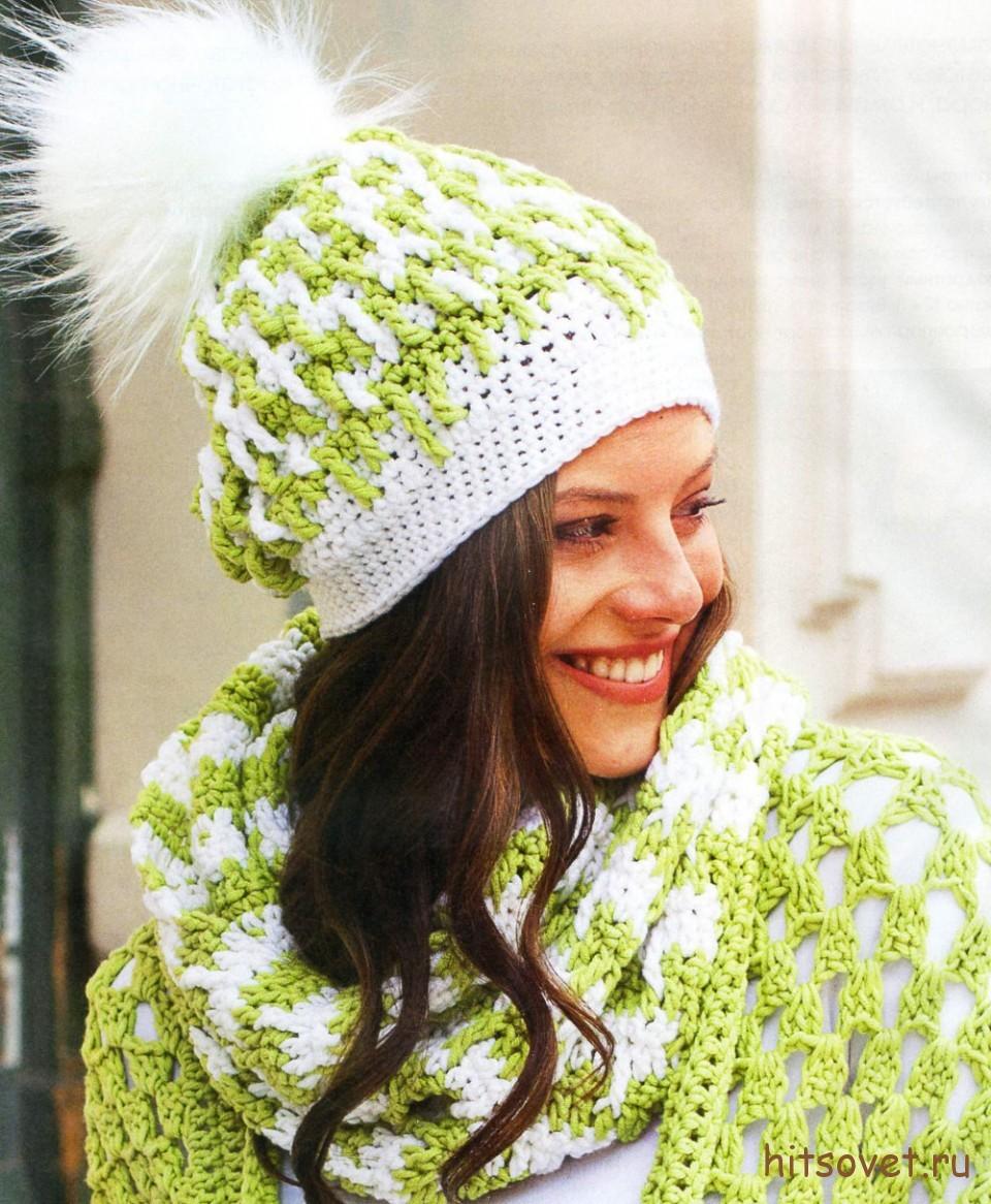 Вязаная шапка и шарф-петля крючком