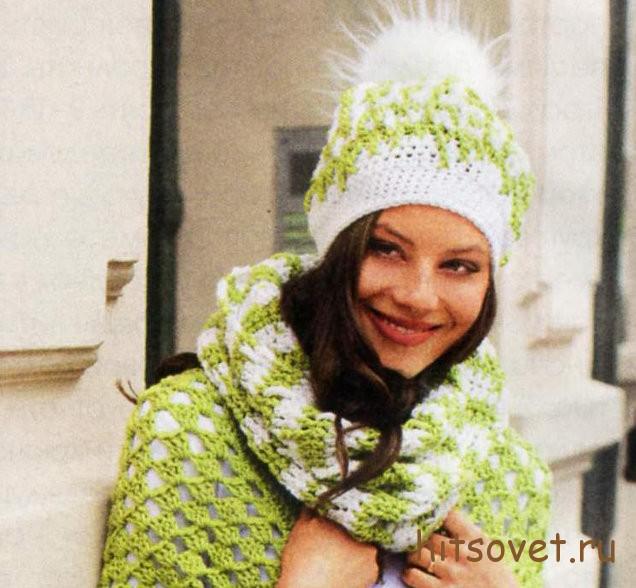 Вязаная шапка и шарф-петля крючком, фото 2.