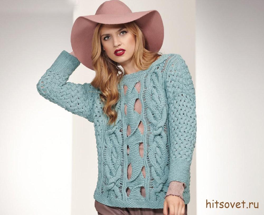 Вязаный пуловер с дырчатым узором