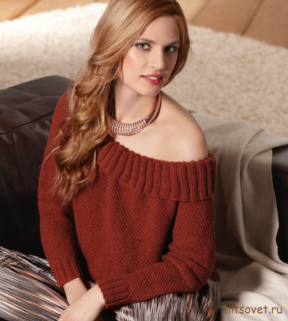 Вязаный пуловер с горловиной кармен